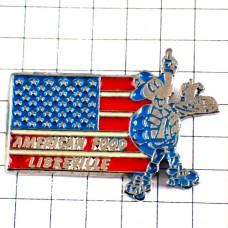 ピンバッジ・亀ローラースケートの給仕アメリカ国旗/USA星条旗