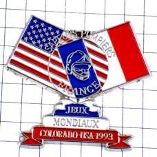 ピンズ・フランス国旗アメリカ星条旗コロラド州/USA消防士世界大会