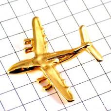 ピンズ・飛行機ミリタリー金色の戦闘機ゴールド立体型