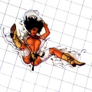 ピンズ・飛び降りるセクシーヌードの女の子ウエスタンブーツ長靴