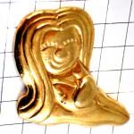 ピンズ・微笑む女の子ゴールド金色