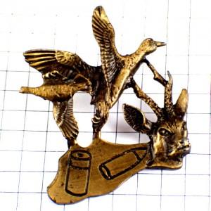 ピンズ・鹿や鴨ハンティング狩猟猟銃の弾ブロンズ色