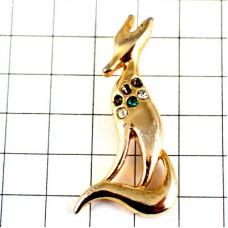 ピンバッジ・ゴールド金色のキツネ狐ラインストーン付き