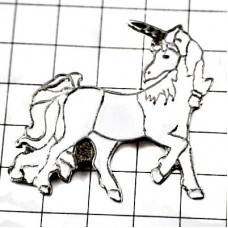 ピンバッジ・白い馬ユニコーン一角獣