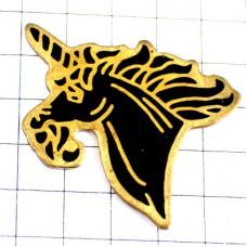 ピンバッジ・ユニコーン黒い馬一角獣
