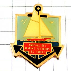 ピンバッジ・白い帆船イカリ錨