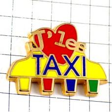 ピンバッジ・タクシーが大好きハート黄色い車
