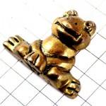 ピンバッジ・カエル蛙ブロンズ色アンティーク真鍮色