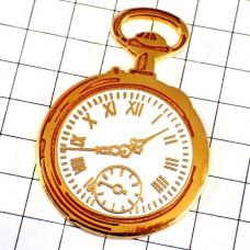 ピンバッジ・懐中時計ローマ数字の文字盤