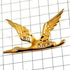 ピンバッジ・金色ゴールドの鳥ラインストーンの目