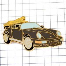 ピンバッジ・ポルシェ車オープンカー豹