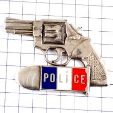 ピンバッジ・ポリス警察のピストル拳銃シルバー銀色