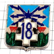 ピンバッジ・第18通信連隊フランス軍アンテナ白いロレーヌ十字