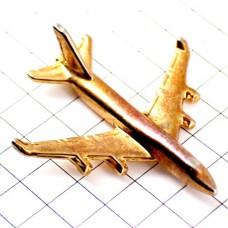 ピンバッジ・金色ゴールド飛行機ボーイングB747立体型