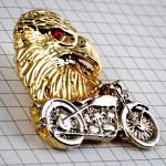 ピンバッジ・オートバイ二輪バイク銀色イーグル金色ゴールド鷲わし赤い目ピューター製