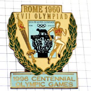 ピンバッジ・ローマ五輪オリンピック1960年ランナー/USA聖火100周年記念ビンテージ中古品