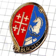 ブローチ・馬と十字ユニコーン第1驃騎兵落下傘連隊フランス軍