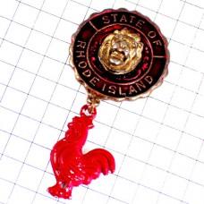 ピンバッジ・ロードアイランド州ニワトリ赤い雄鶏アメリカ/USAライオン米国