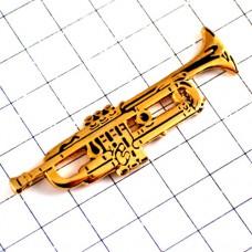 ピンバッジ・金色トランペット楽器ゴールド音楽