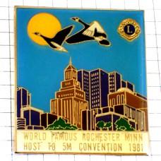 ピンバッジ・鳥と太陽ライオンズクラブLロチェスター高層ビル/USAミネソタ州アメリカ米国