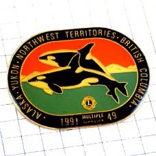 ピンバッジ・アラスカ州のイルカ2頭ライオンズクラブLアメリカ/USA