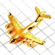 ピンバッジ・金色の飛行機ゴールド立体型