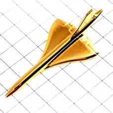 ピンバッジ・金色コンコルド音速飛行機ゴールド立体型