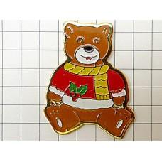 ピンバッジ・熊のぬいぐるみクリスマス
