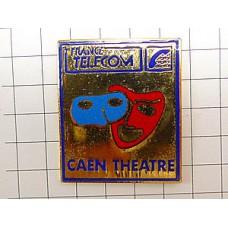 ピンバッジ・赤と青の仮面マスク劇場フランステレコム