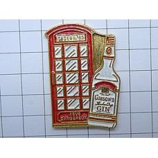 ピンズ・ロンドン赤い電話ボックス酒ギブソン瓶ジン
