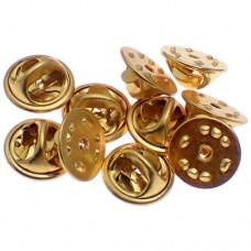 ピンバッジの留め具バタフライ型クラッチ金色10個セット