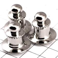 ピンバッジの留め具キャッチ◆デラックス丸型クラッチ銀色3個で1セット留め金シルバー色