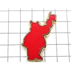 ピンバッジ・赤いカバ河馬の影