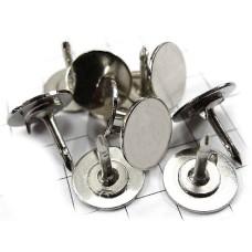 ピンバッジ土台の広い針◆ピンズ用銀色10本セット長さ8mm直径8mmストッパー付