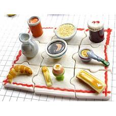 フェーヴ・朝食セット陶器の置物