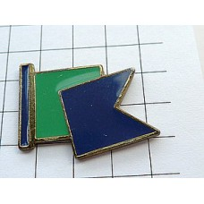 ピンバッジ・緑と青の手旗信号