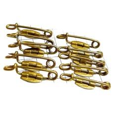 ハンドメイド部品◆ブローチ製作用ピン針◆10本で1セット20mmアンティーク真鍮色ブロンズ色