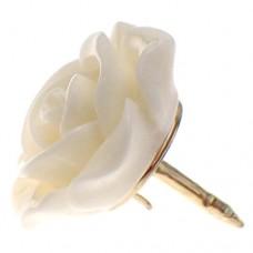 ピンズ・New!白いローズ薔薇バラの花アイボリーオフホワイト白色