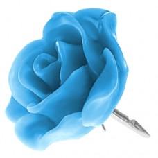 ピンズ・New!ブルー青のローズ薔薇バラの花ばら銀色の針